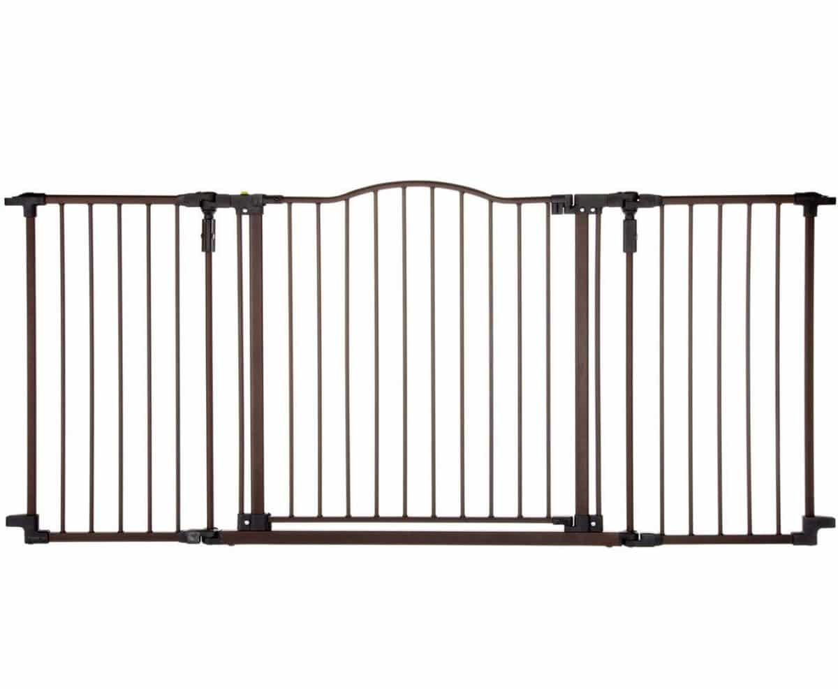 White Extra Wide Expandable Sturdy Steel Walk Thru Child Pet Safety Fence Gate