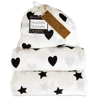 Kaydee Baby Organic Muslin Cotton Swaddle Blankets