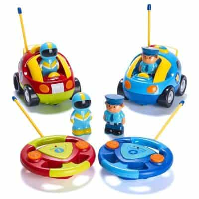 Prextex Pack of two Cartoon R/C Police Car & Race Car Radio Control