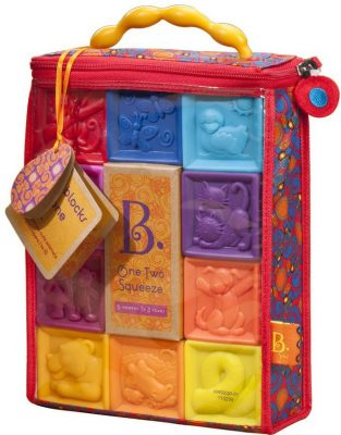 B. toys – One Two Squeeze Baby Blocks – Educational Baby with Numbers, Shapes, Animals & Textures
