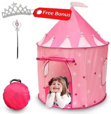 Kiddey Princess Castle Play Tent (Pink) - With Glow in the Dark Stars