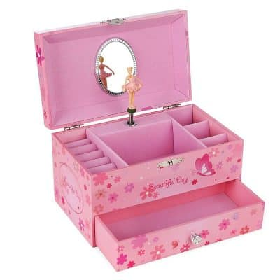 SONGMICS Ballerina Music Jewelry Box Storage Case with Drawer