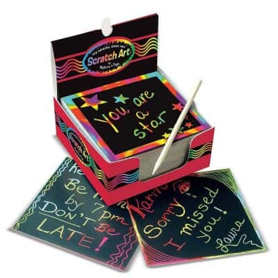 Melissa & Doug Scratch Art Rainbow Mini Notes W/ Wooden Stylus (125 ct)