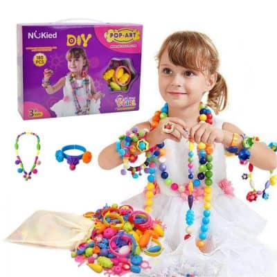 Snap Pop Beads Girls Toy- DIY Jewelry Kit Fashion Fun, 180 Pieces