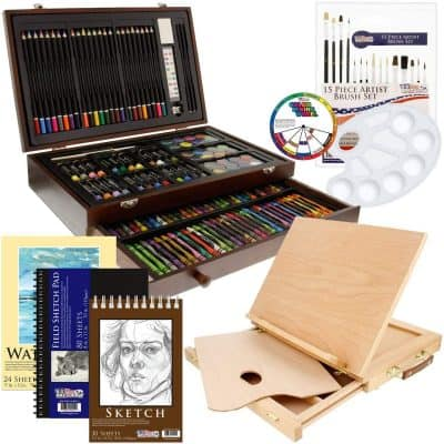 US Art Supply 163 Piece-Premium Mega Wood Box Art