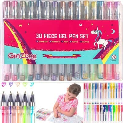 GirlZone Gifts for Girls: 30 Piece Gel Pens Set