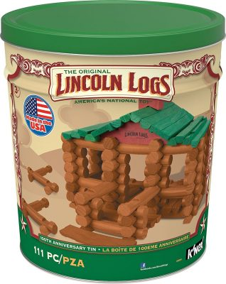 K'NEX LINCOLN LOGS – 111 All-Wood Pieces, 100th Anniversary Tin