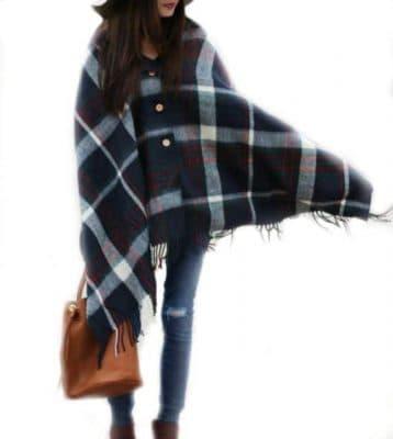 Pretty Simple Plaid Button Blanket Scarf Shawl Women's Wrap