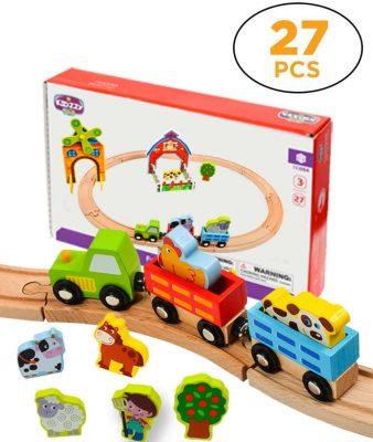 Kidzzy Toys 27 Pieces Wooden Train Set