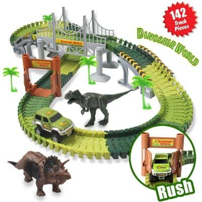 Homofy Dinosaur Toys 142pcs Slot Car Race Track