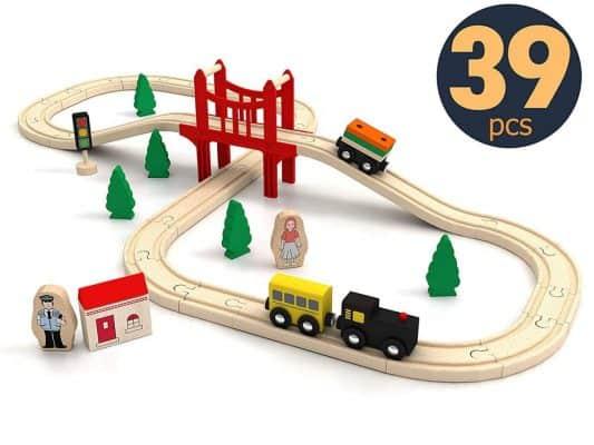 Wooden Train Set Starter 39-Piece Track Pack