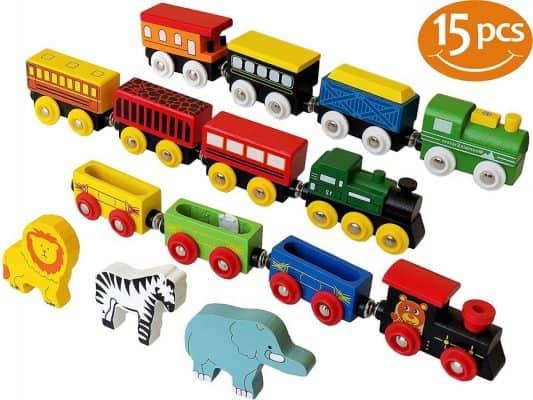 ToysOpoly Wooden Train Set 12 PCS