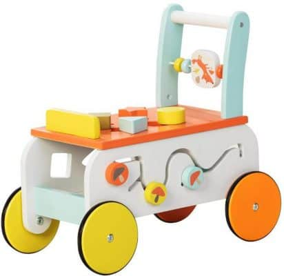 Labebe New Design Baby Walker with Wheel, 3-in-1 Orange Wooden Activity Walker for Baby