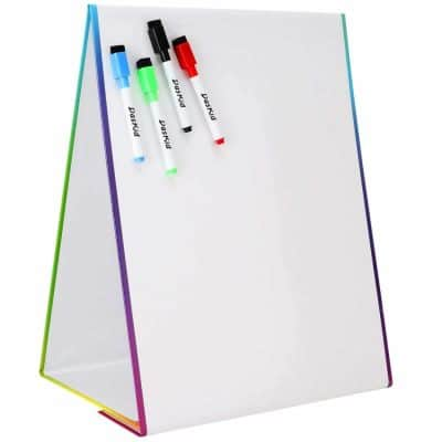 Kraftic 2 in 1 Kids Drawing Easel Magnetic Dry Erase Board and Paper Roll for Drawing and Painting with Storage Tray for Art Accessories and Supplies with Chalkboard