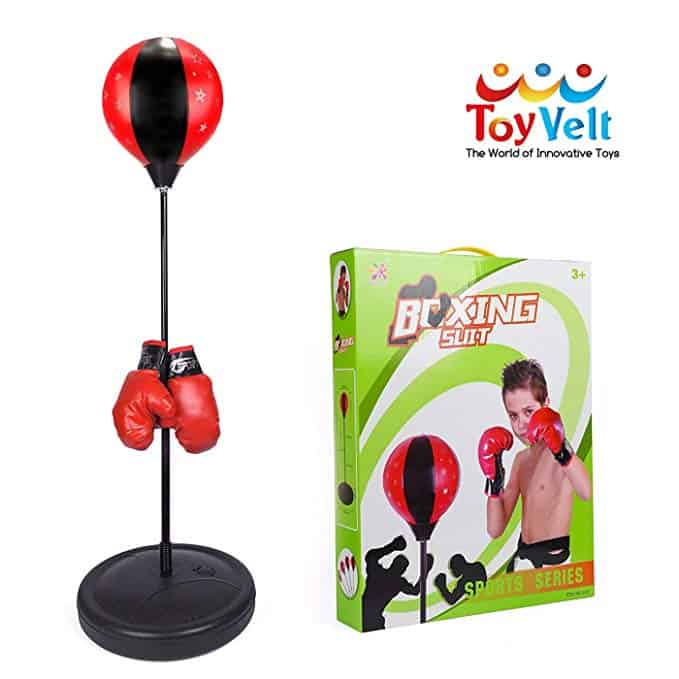 Punching Ball Bag with Gloves Adjustable Stand Kit Kids Children Boxing Set