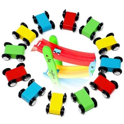 Lewo 12 Pack Mini Wooden Race Replacement Cars
