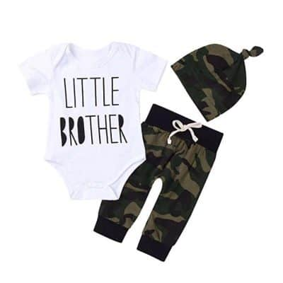 3Pcs Baby Boys Little Brother Camouflage Romper