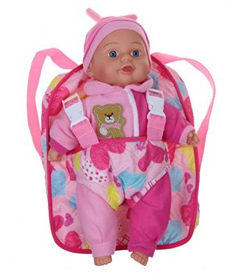 Dolls to Play Soft Baby Doll With TakeAlong Pink Doll Backpack Carrier