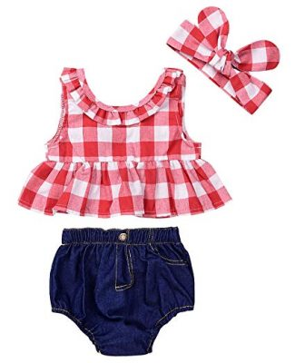IWOKA Baby Girls Plaid Ruffle Bowknot Tank