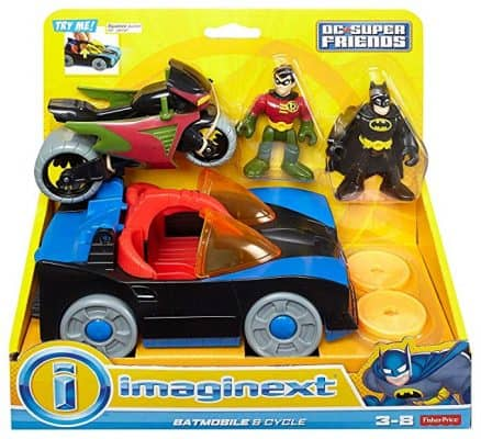 Fisher Price DC Super Friends, Batmobile, and Cycle