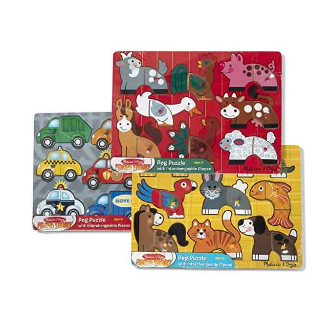8 piece wooden Farm puzzle kids child educational fun learning jigsaw