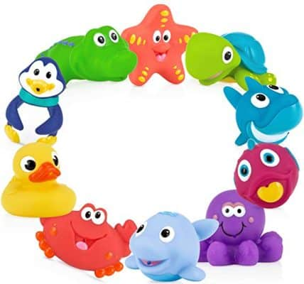 Nuby 10-Pack Little Squirts, Assorted Characters Fun Bath Toys