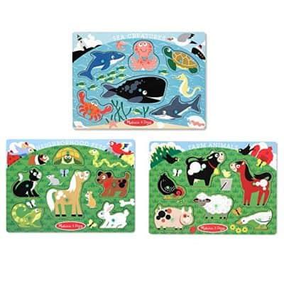 Melissa & Doug Farm, Pets, and Ocean Puzzles Set