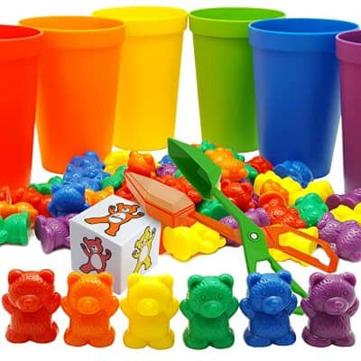 Skoolzy Rainbow Counting Bears with Matching Sorting Cups