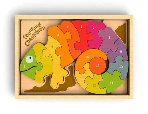BeginAgain Counting Chameleon Wooden Number Puzzle