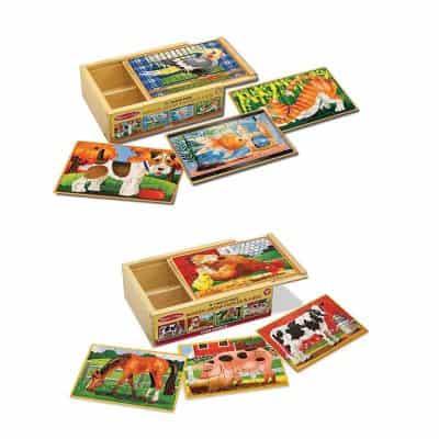 Melissa & Doug Animals 4-in-1 Wooden Jigsaw Puzzles Set