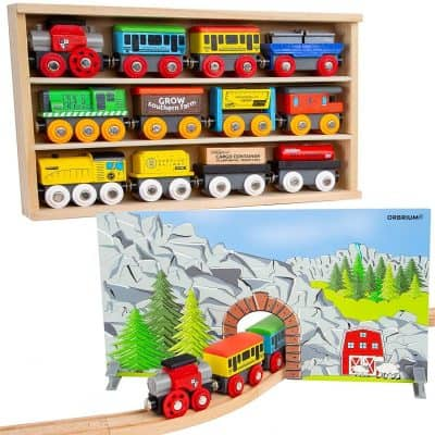 Orbrium Toys Wooden Engines & Train Cars Collection