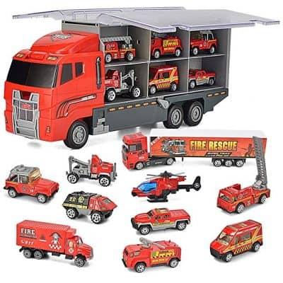 JOYIN 10 in 1 Die-cast Fire Engine Vehicle Mini Rescue Emergency Fire Truck