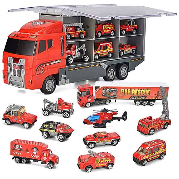 Large Double Deck Trailer With Four Mini Police Cars To Transport Big Truck Toys
