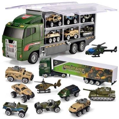 JOYIN 10 in 1 Die-cast Military Truck Army Vehicle Mini Battle Car Toy Set