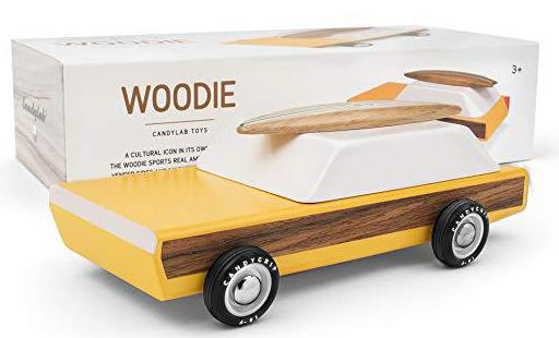 Candylab Toys - Woodie Wooden Car with Surfboard