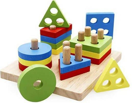 Rolimate Wooden Educational Shape Color Recognition Geometric Board Block