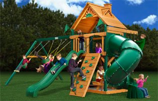 Mountaineer Swing Set with Wood Roof Canopy