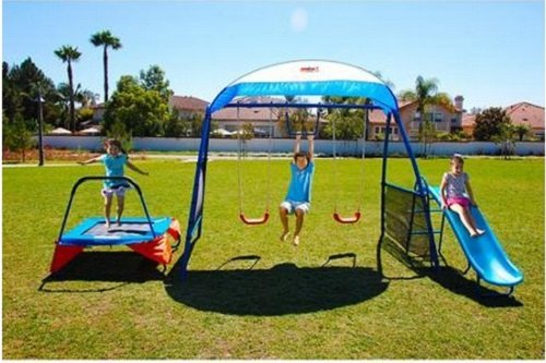 Ironkids Outdoor Trampoline with Swing and Slide