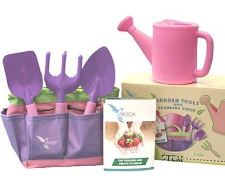 ROCA Home Kids Pink Garden Tools with STEM Learning Guide