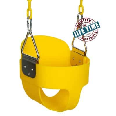 ANCHEER Toddler Swing Seat High Back Full Bucket Swing Seat with 60-inch Coated Chain and Two Snap Hooks