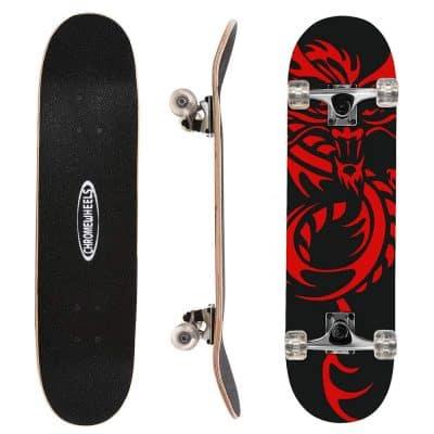 ChromeWheels 31-Inch Skateboard Complete Longboard Double Kick Skateboard
