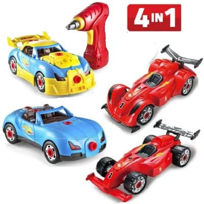 Prextex 4 in 1 Build Your Own Racer Car Set STEM Toy