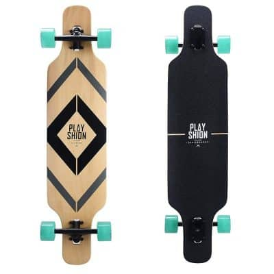 Playshion 39-Inch Drop Through Freestyle Longboard Skateboard Cruiser
