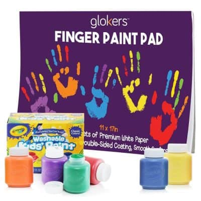 glokers Finger Paint Paper Pad Bundle with 6 Crayola Washable Paint for Toddlers