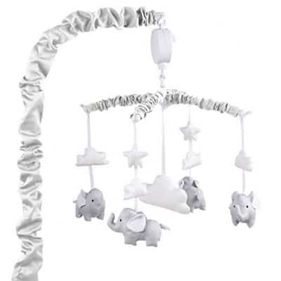 Grey Digital Musical Mobile with Elephants, Clouds and Peanuts