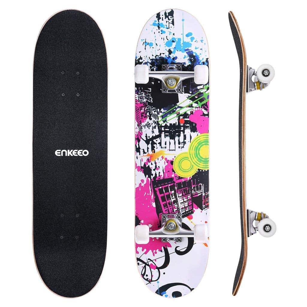 Kids 17 inch Mini Skateboard Double Kick Complete Deck Board Skate Cruiser Wood