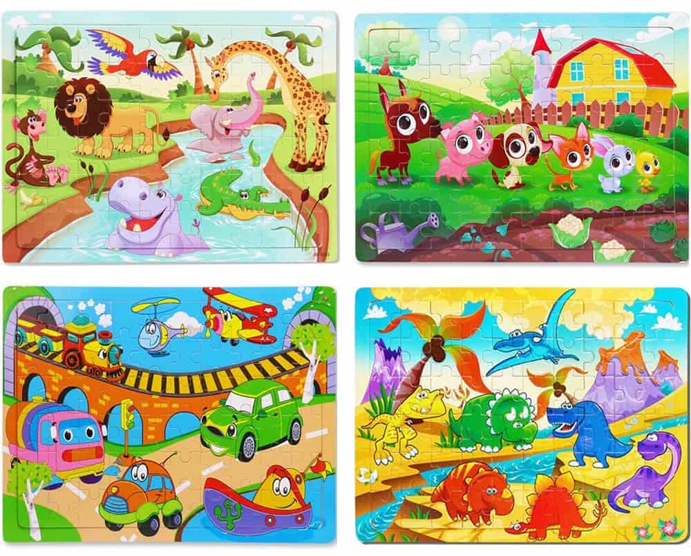 12 Set 16 Pieces Jigsaw Puzzles Preschool Puzzle Artwork Art for Children Kids Toddler Learing Grown Up Jigsaw Puzzle Toy Educational Animal Jigsaw Puzzle Toys Games