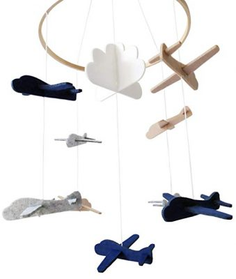 Mobile Sorrel Airplanes and Cloud Nursery Decoration