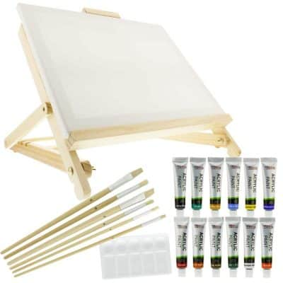 US Art Supply 21-Piece Acrylic Painting Table Easel Set