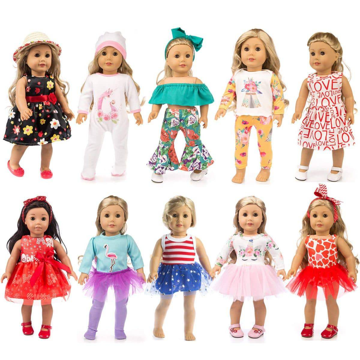 Doll Clothes With 12 Kinds of Styles Doll Accessories For 18inch Baby Girl Doll